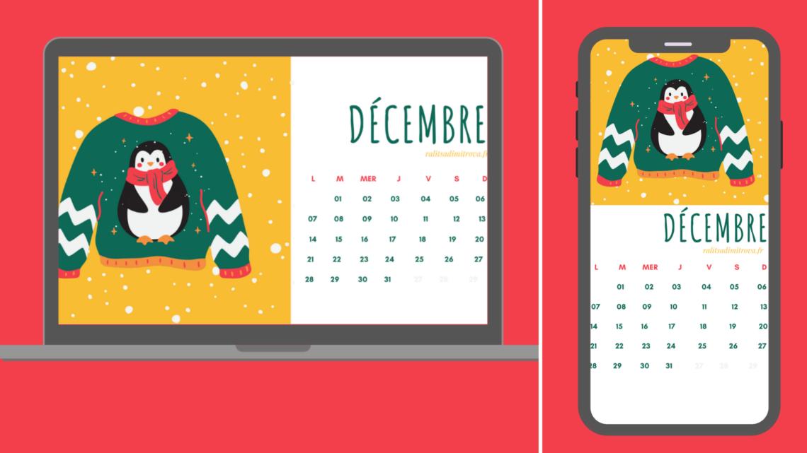 Fond d'écran calendrier décembre 2020